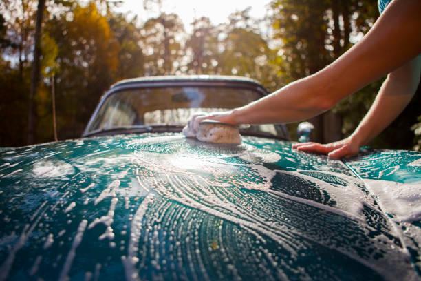 Washing car. stock photo