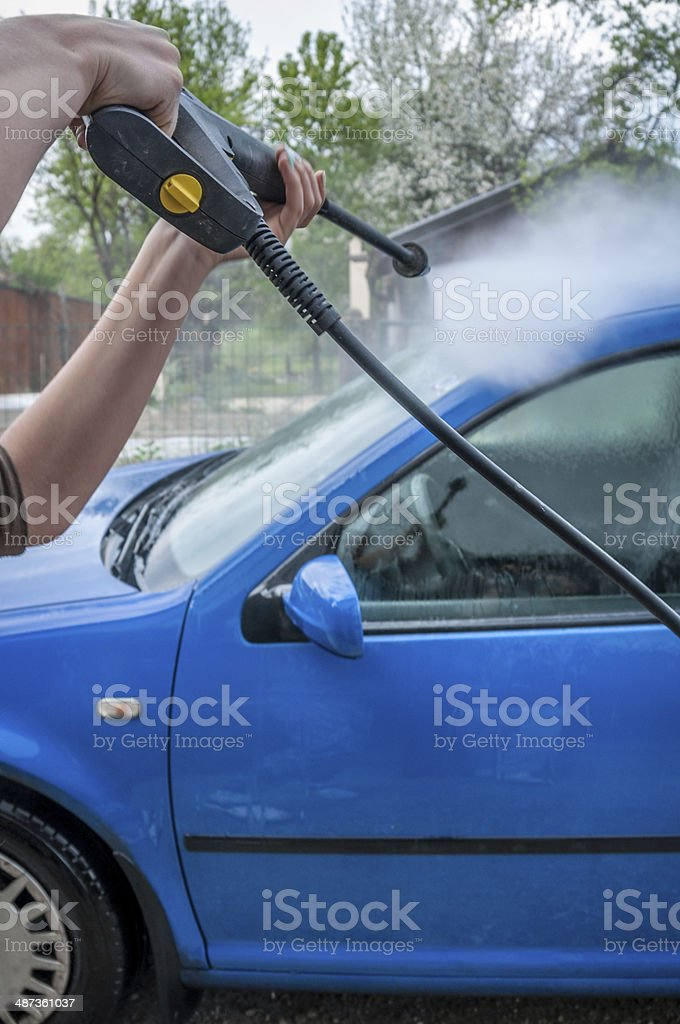 Washing car water pressure royalty-free stock photo