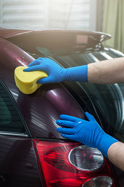 Auto Waschen mit Schwamm – Foto