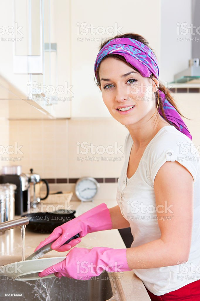 Washing dishes royalty-free stock photo