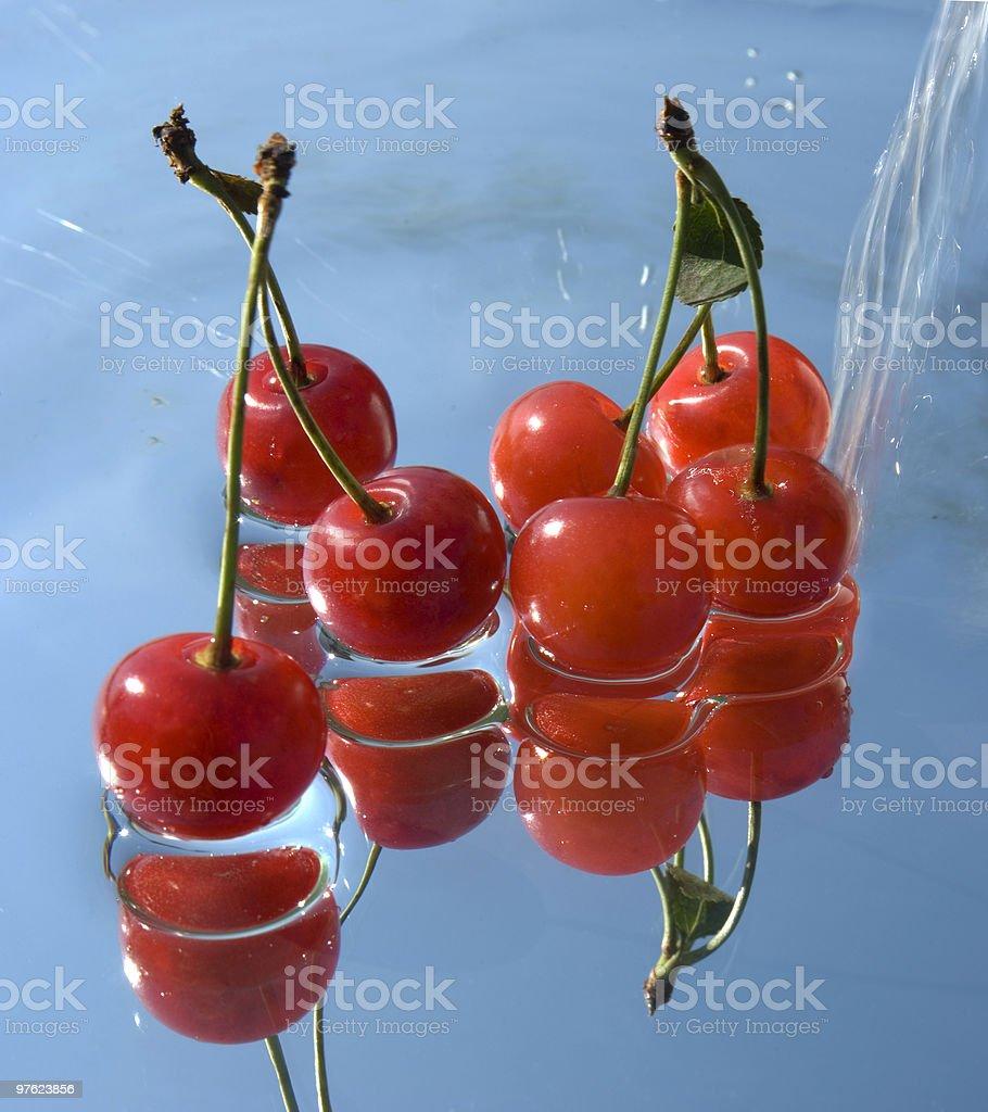 washing fresh cherrys royalty-free stock photo