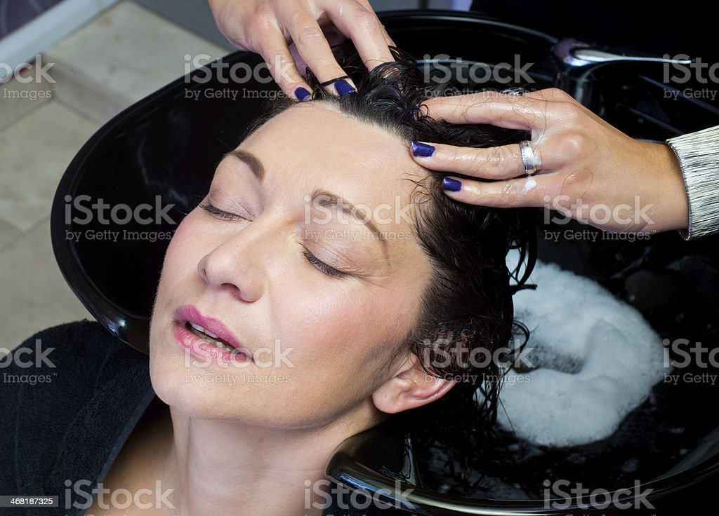 washing hair and massage royalty-free stock photo