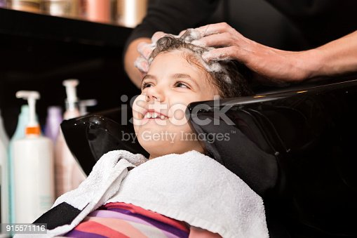 Washing her hair before haircut