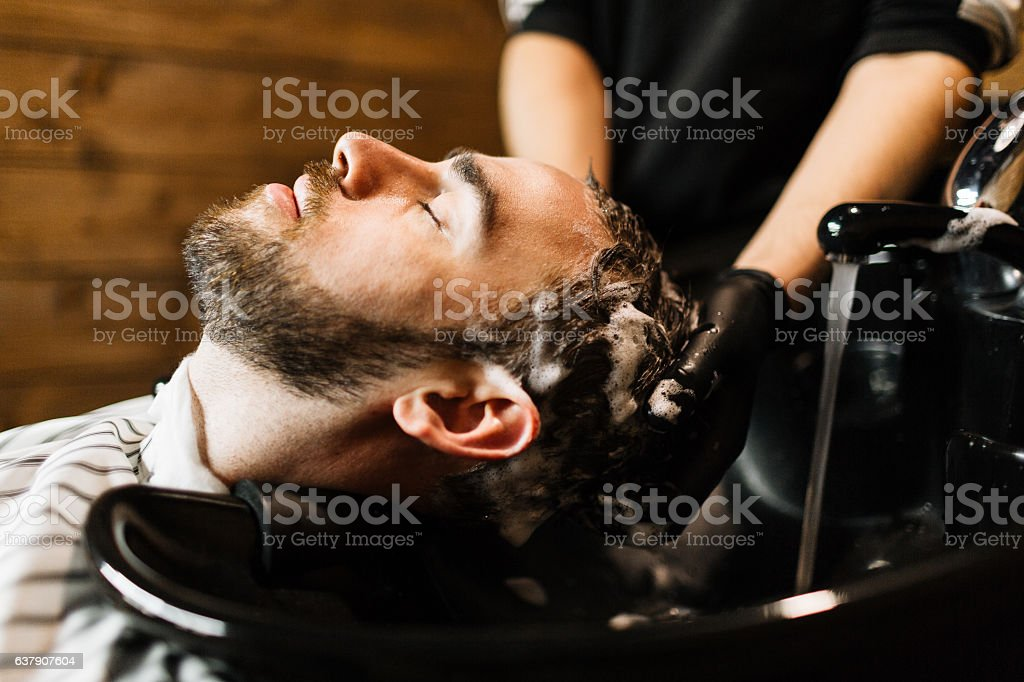 Washing hair stock photo