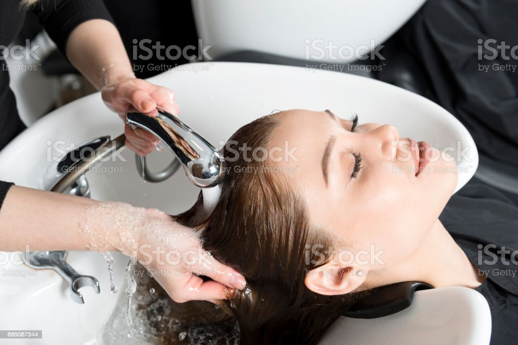 Washing Hair royalty-free stock photo