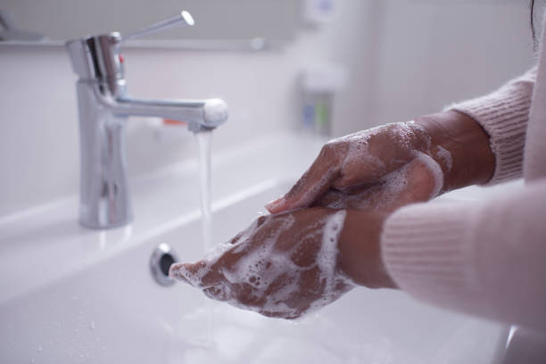 Washing hands with soap. Hygiene and a healthy lifestyle. stock photo