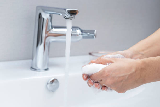 Washing Hands With Soap stock photo