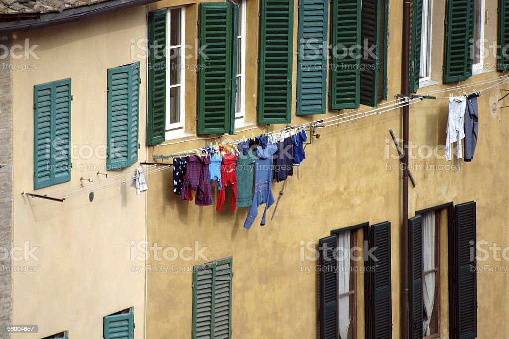 Washing hanging out to dry in Tuscany royalty-free stock photo