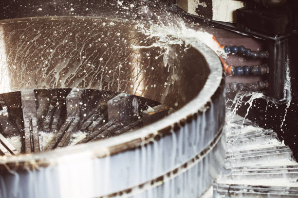 Washing, industrial technology process Washing of large mechanical parts (bearings), industrial process. ball bearing stock pictures, royalty-free photos & images