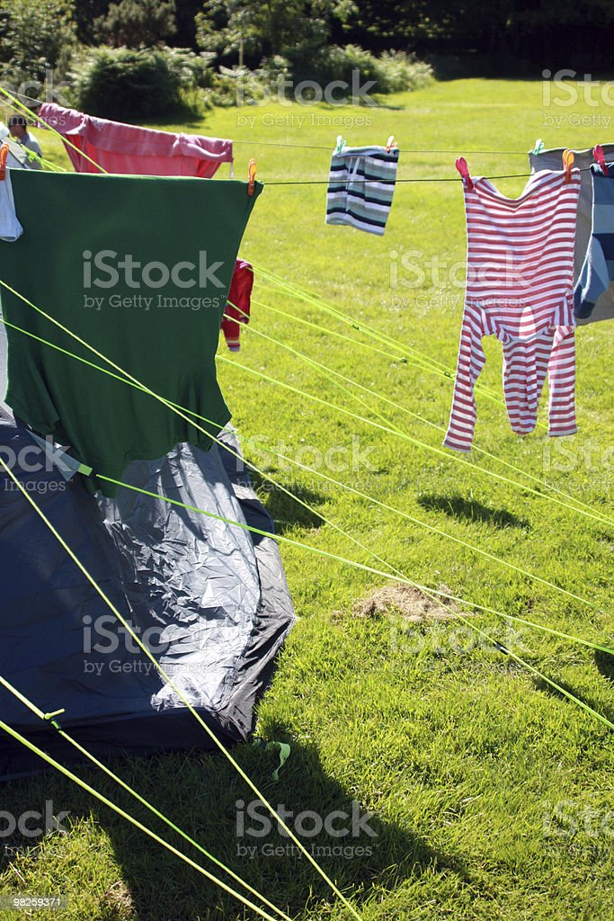 Washing Line camp site royalty-free stock photo