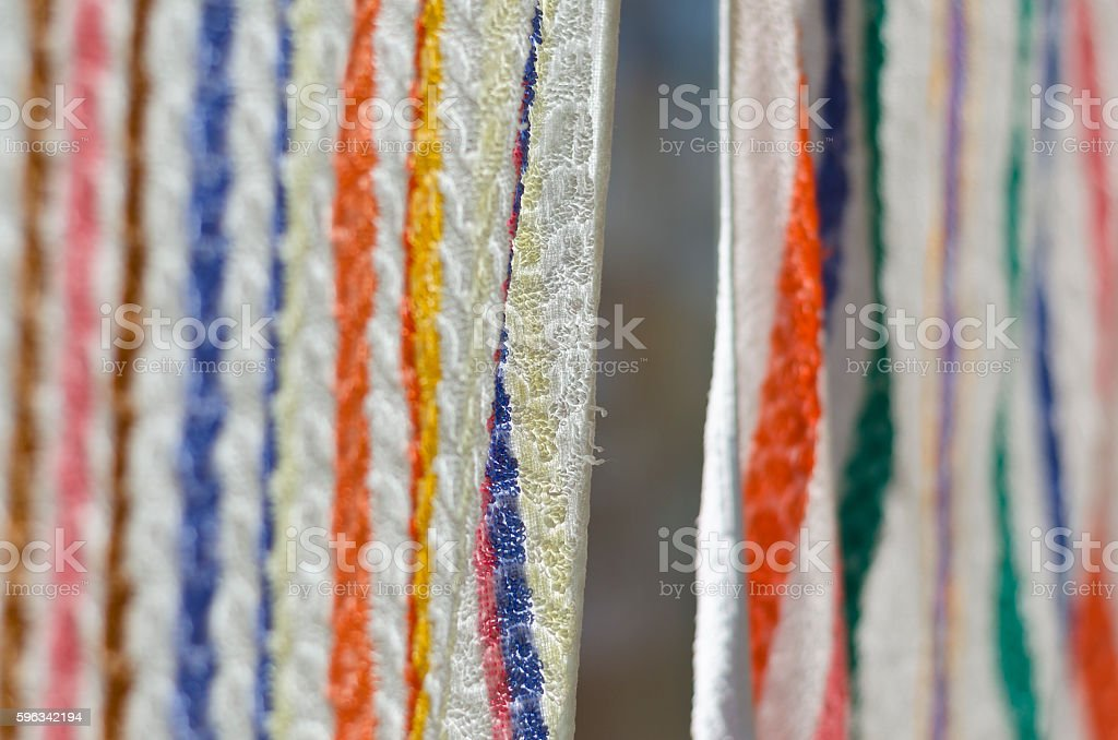 Washing line - Towels on a string royalty-free stock photo