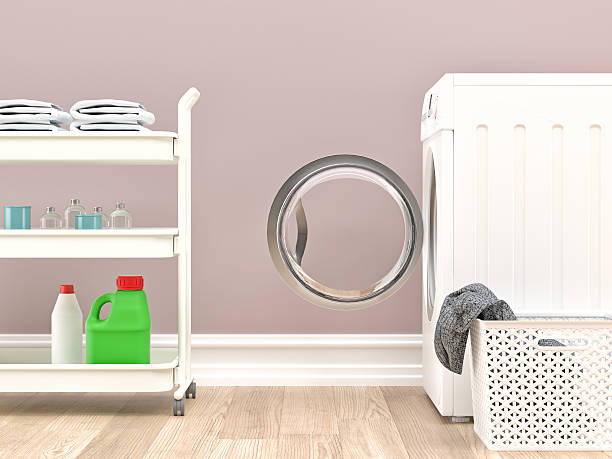 washing machine, basket and detergent in laundry room - laundry laundry room stock pictures, royalty-free photos & images