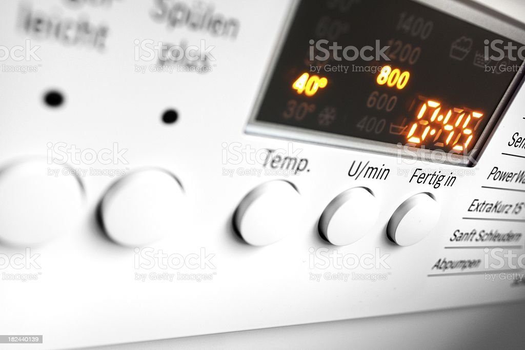 washing machine control panel stock photo