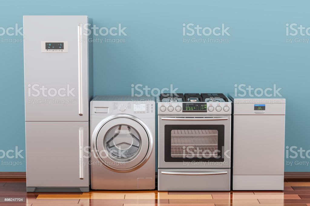 Washing machine, gas stove, fridge and dishwasher in room on the wooden floor, 3D rendering stock photo