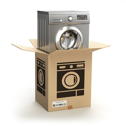 Washing machine in carton cardboard box. E-commerce, internet online shopping and delivery concept. 3d illustration