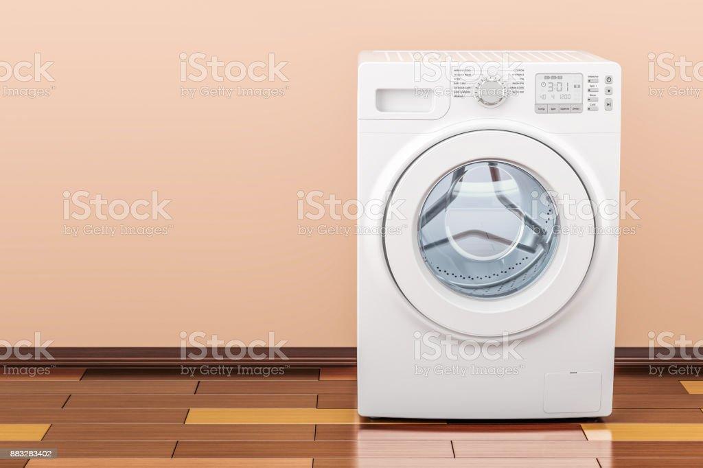 Washing Machine In Room On The Wooden Floor 3d Rendering Stock