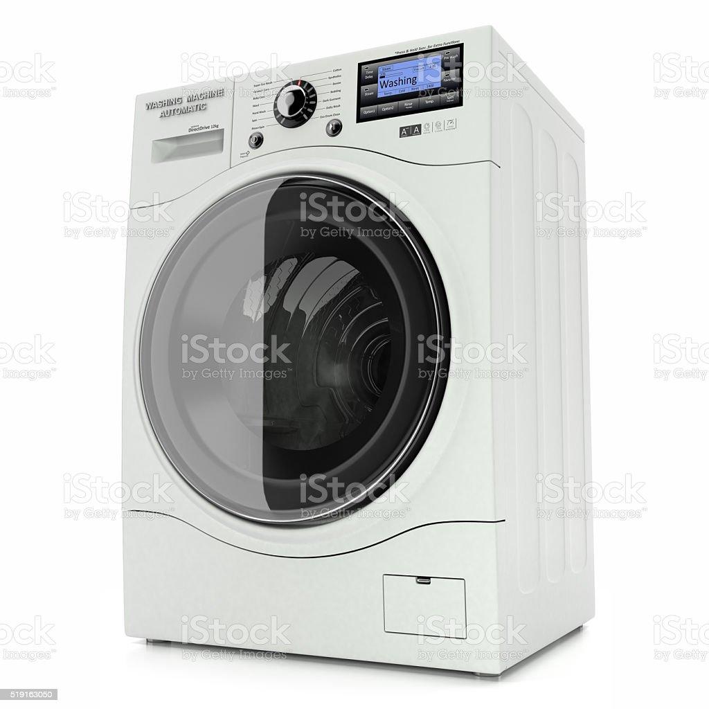 Washing machine isolated on white background 3d stock photo