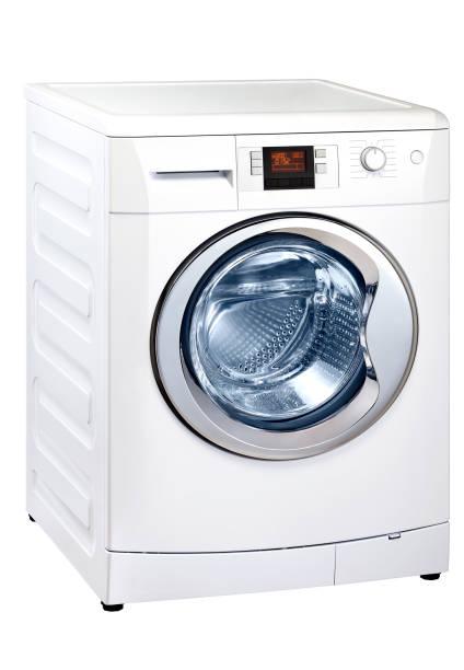 waschmaschine, isoliert auf weiss - leise waschmaschine stock-fotos und bilder