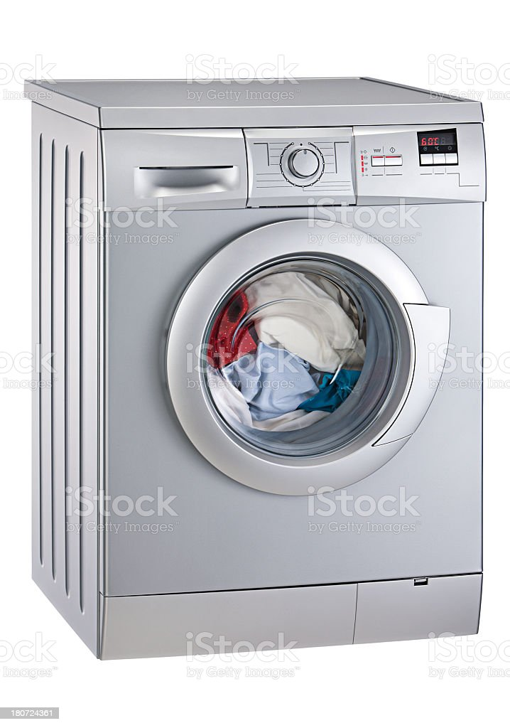 Washing machine mid-cycle on white background stock photo