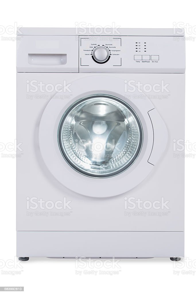 Washing Machine Over White Background stock photo