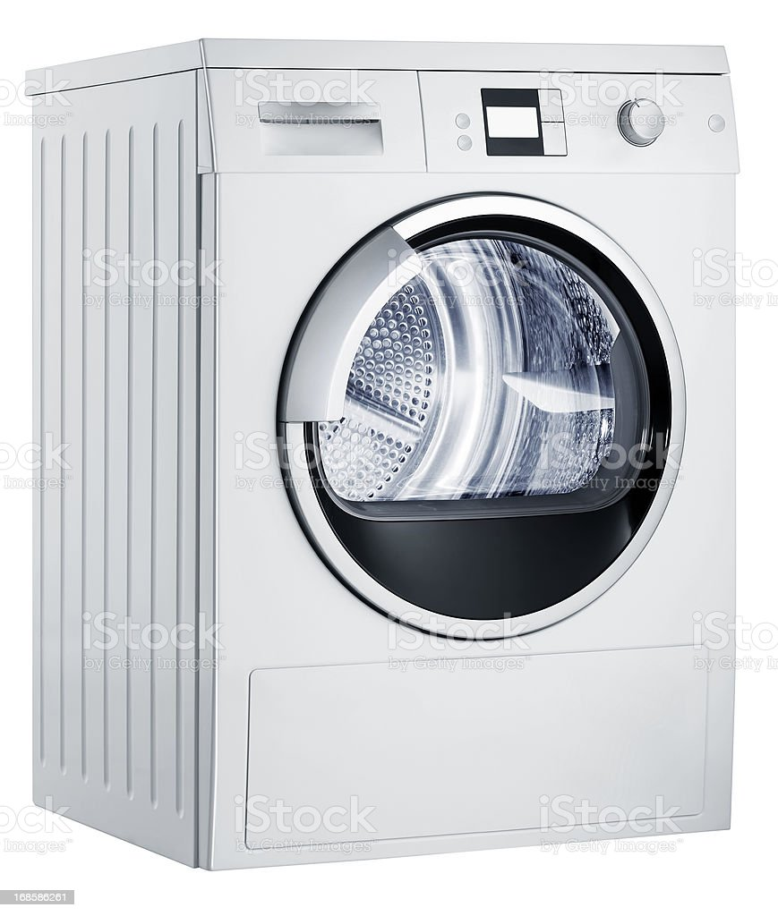 Washing machine (isolated with clipping path over white background) stock photo