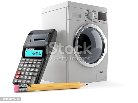 istock Washing machine with calculator and pencil 1080439740