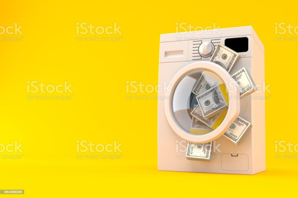 Washing machine with dollar currency - Royalty-free American One Hundred Dollar Bill Stock Photo