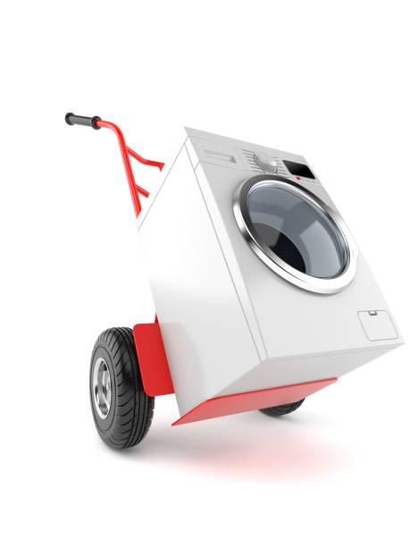 waschmaschine mit handwagen - waschmaschine fotos stock-fotos und bilder