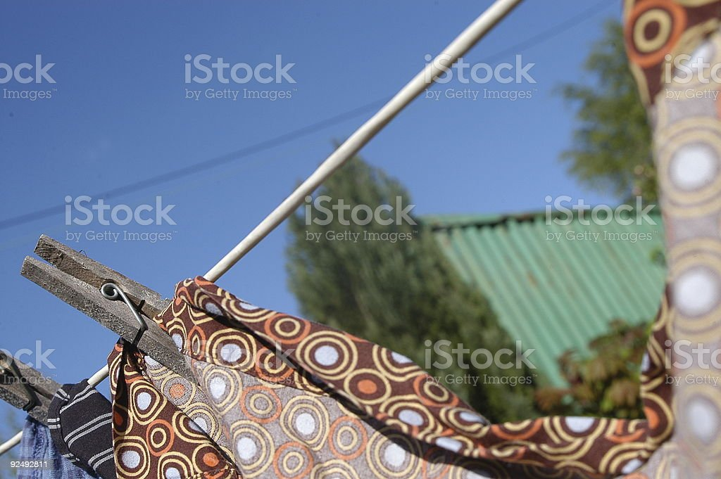 washing on the line stock photo