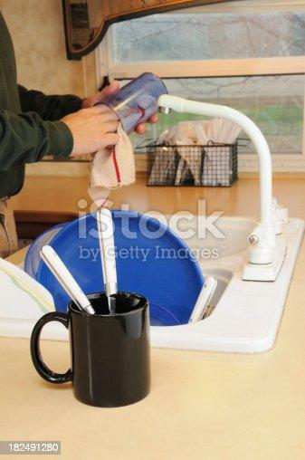 Washing plastic dishware in trailer kitchen