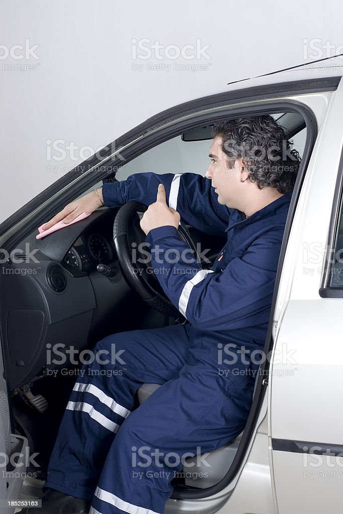 Washing the Car Interior royalty-free stock photo