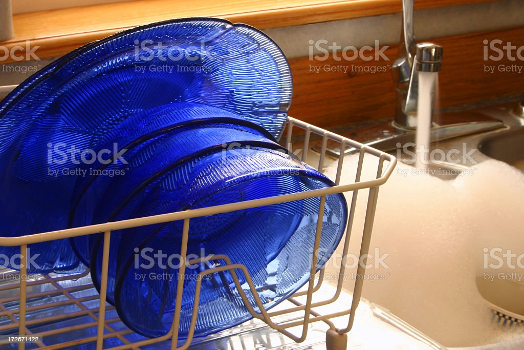 Washing the dishes and bowls by hand  royalty-free stock photo