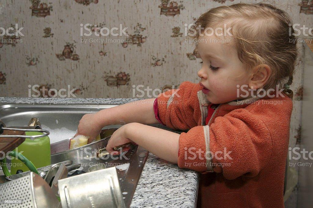Washing the dishes royalty-free stock photo