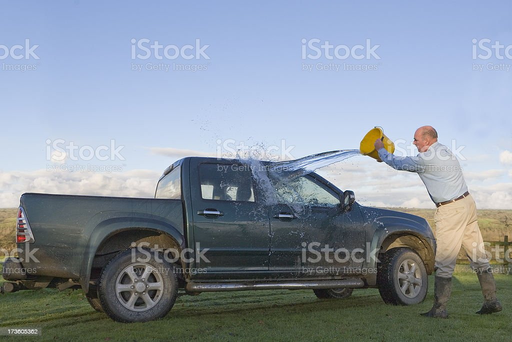 Washing The Truck royalty-free stock photo