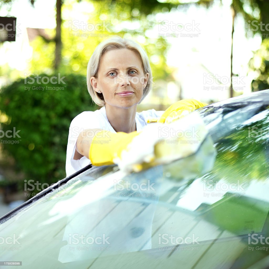 Washing the Windshield royalty-free stock photo