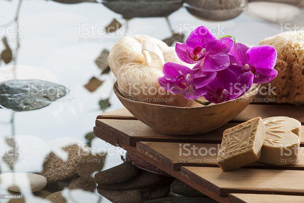 washing up with water serenity around stock photo