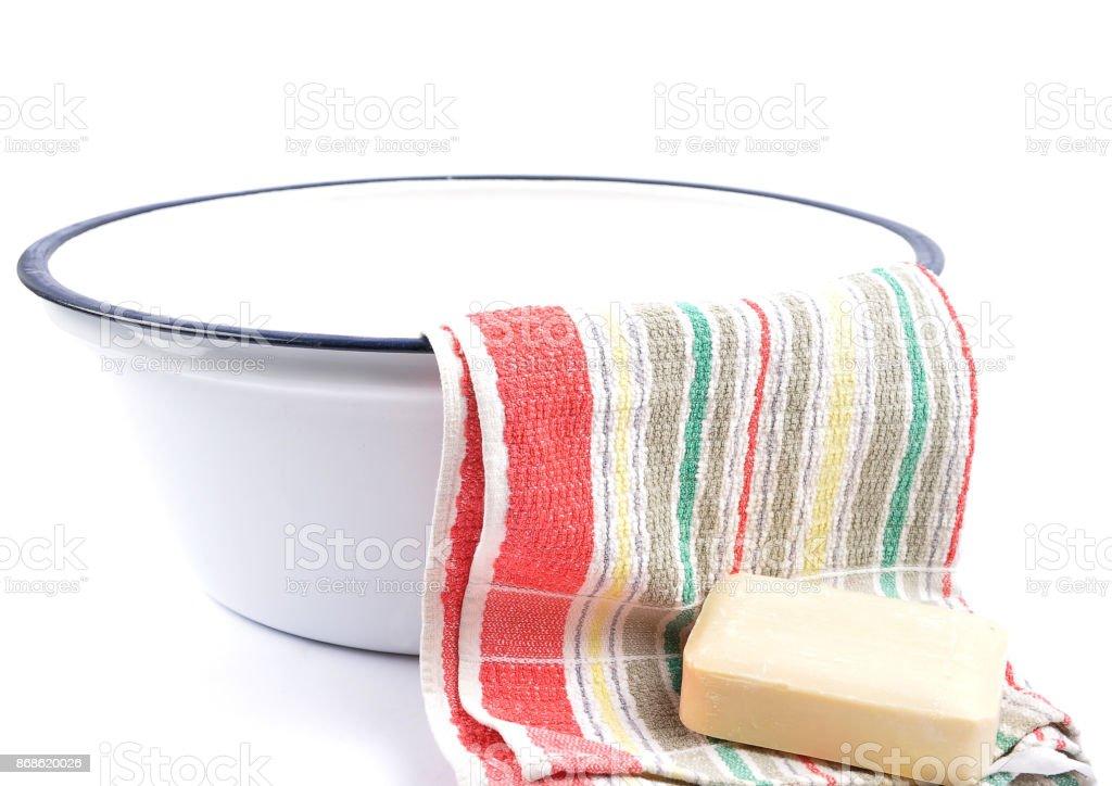 Washing utensils stock photo
