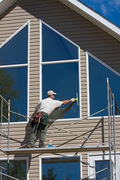 washing windows stock photo