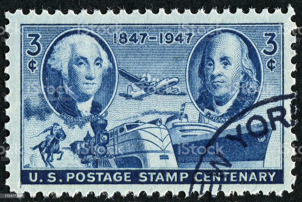 Washington And Franklin Stamp royalty-free stock photo
