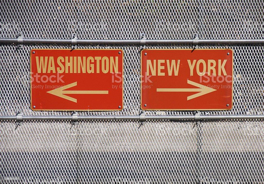 Washington and New York Signs - Royalty-free Arrow Symbol Stock Photo