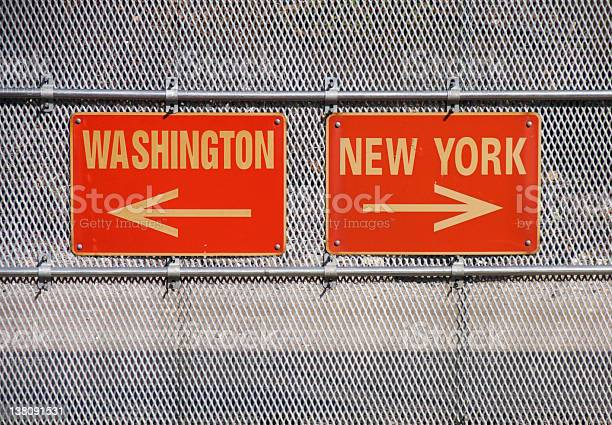 Washington And New York Signs Stock Photo - Download Image Now