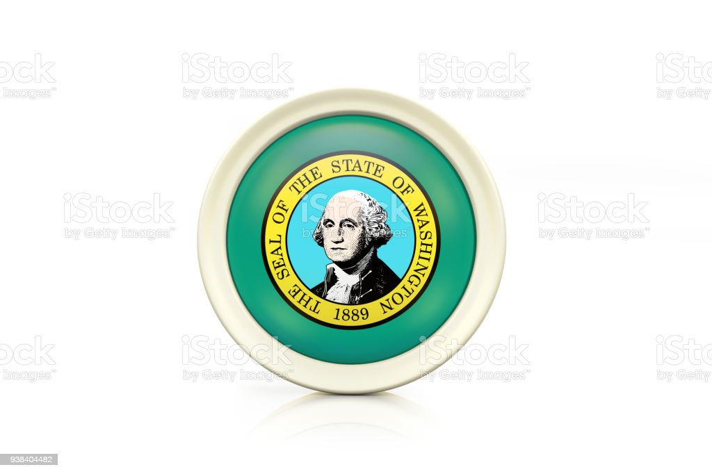 Washington Badge On White Background stock photo
