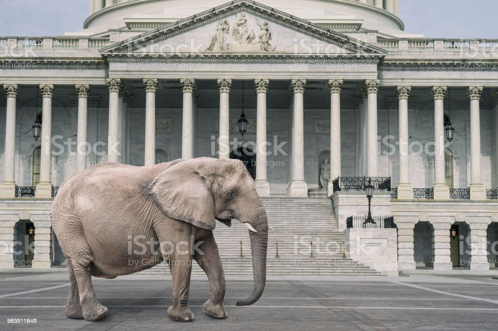 A large republican elephant walks in front of the capitol building on...