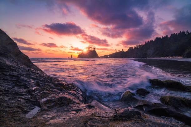 Washington coast sunset stock photo