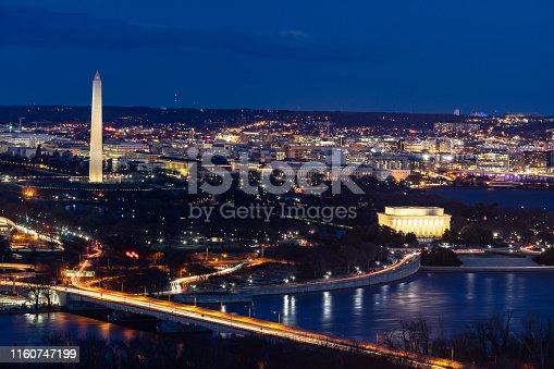 Aerial view of Washington DC cityscape from Arlington Virginia USA.