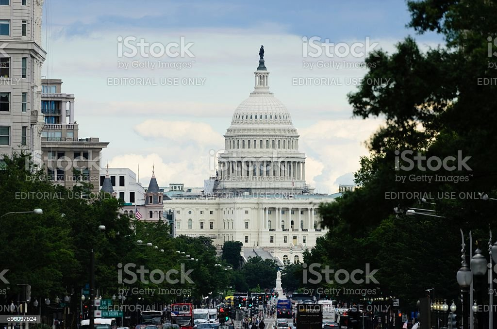 Washington DC Capitol and Traffic royalty-free stock photo