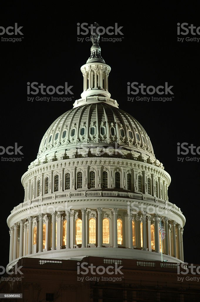 Washington DC Capitol Dome at Night stock photo