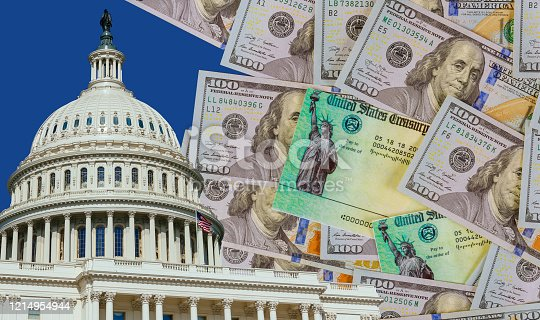 Washington DC Capitol dome with finishing touches on a stimulus bill Global pandemic Covid 19 lockdown US dollar cash banknote on American flag