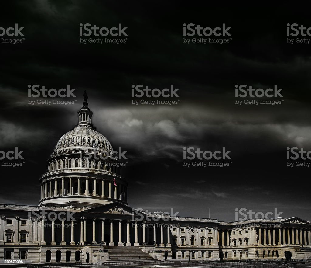 Washington DC capitol storm stock photo