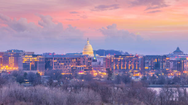 Washington, D.C. city skyline in USA stock photo